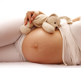 stomach pregnant woman on white background