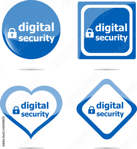 digital security stickers label tag set isolated on white
