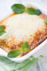 Vertical shot of a crispy vegetable lasagna, close-up