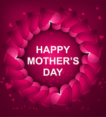 Happy mother's day beautiful background with hearts colorful des