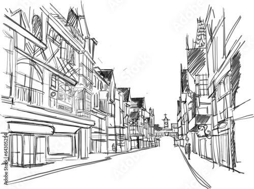sketch of a street in the old town © SERGEYMANSUROV