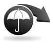 parapluie sur symbole noir