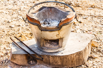 Traditional stove with with fire Charcoal
