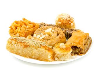 turkish sweets on white background