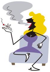 煙草を吸うドレスの女性