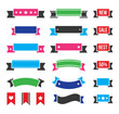 Retro ribbons, colorful vintage bookmarks set - vector