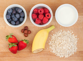 Ingredients for oatmeal with fresh fruit