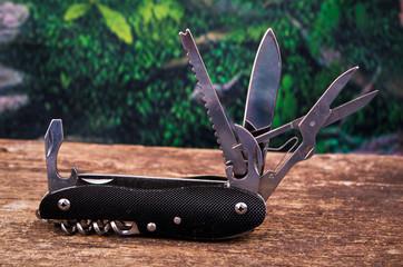 black swiss army knife multitool