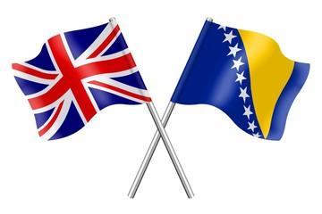 Flags: United Kingdom and Bosnia-Herzegovina