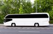 Weisser Reisebus mit getönten Scheiben vor Wald - 64309031