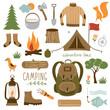 Set of camping equipment icon set - 64309285