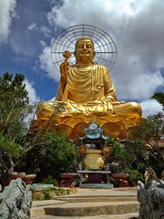Golden Buddha with Lotus Flower in Dalat, Vietnam, Asia