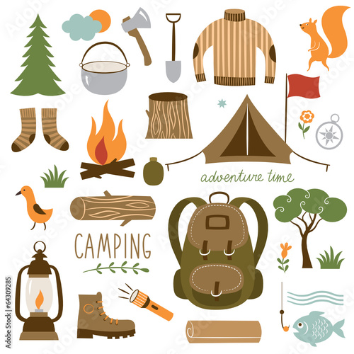 Set of camping equipment icon set - 64309285