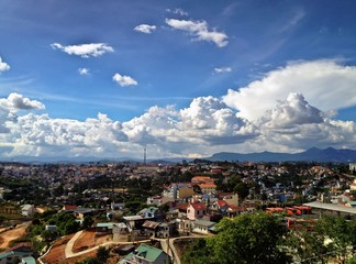 Eiffel Tower City Skyline with Clouds, Dalat, Vietnam
