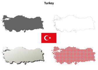 Blank detailed contour maps of Turkey