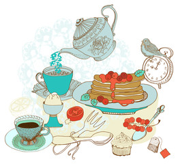 Vintage color morning tea background