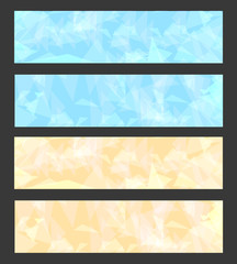Banners set with bright colors geometry pattern