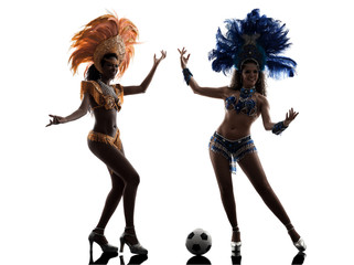 women samba dancer playing soccer silhouette