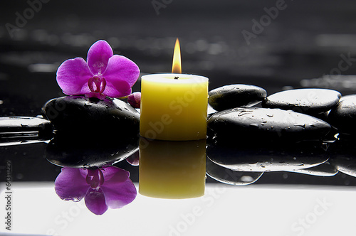 burning yellow candles with pink orchid on blacks