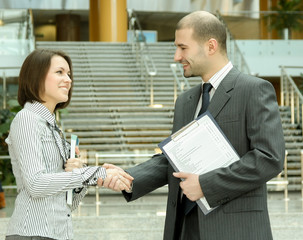 Closeup of a business handshake.