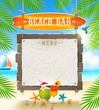 Tropical beach bar signboard and menu banner