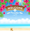 Signboard Welcome on a tropical beach