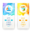 Summer holidays vacation and travel banners