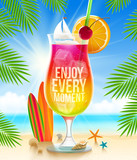 Exotic cocktail with summer greeting on the tropical beach