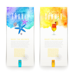 Summer vacation holidays watercolor banners