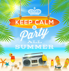 Summer beach party greeting design