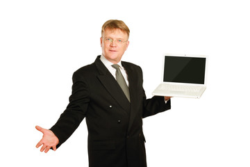 Man presenting laptop isolated on white background.