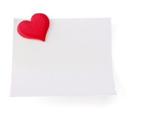 Postcard with red heart, isolated on white background.