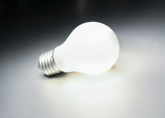light bulb, lamp isolated on grey background.
