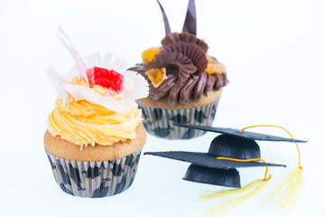 Fancy graduation cupcakes close-up