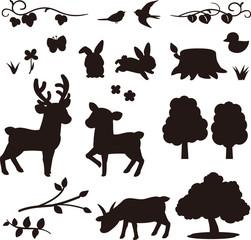 森の動物のシルエット素材