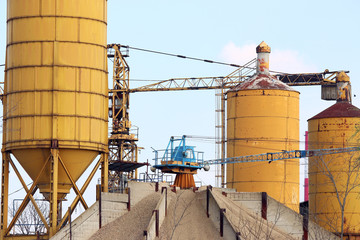 concrete factory with crane industry zone
