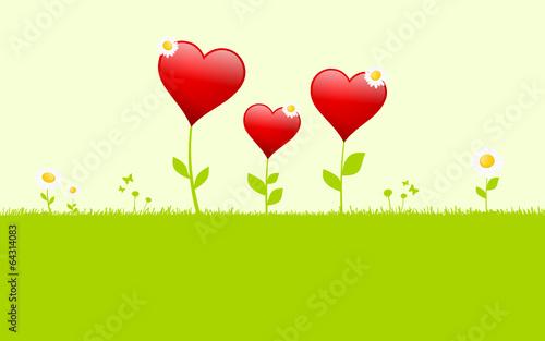 Blumenwiese mit Herzen