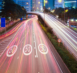 Hong Kong of highway with heavy traffic at night