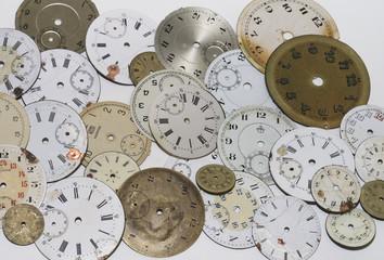 alte antike Uhren, Zifferblätter, Taschenuhren