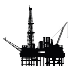 Silhouette of oil platform, vector