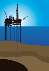 Oil platform on sea, vector