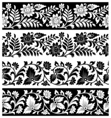 Fancy floral borders on white background