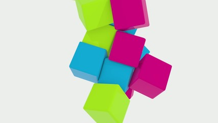 3D COLORED CUBES BOUNCING AND SPINNING