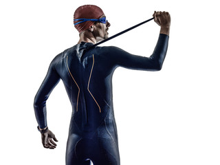 man triathlon iron man athlete swimmers portrait