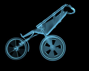 Child buggy x-ray blue transparent isolated on black