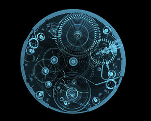 Watch internals x-ray blue transparent isolated on black