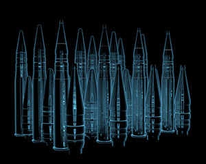 Rifle bullets x-ray blue transparent isolated on black