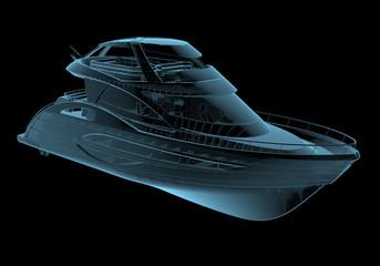 Luxury yacht x-ray blue transparent isolated on black