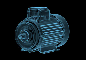 Electric motor with internals x-ray blue transparent