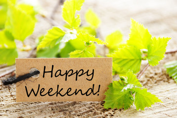 Label with Leaves and Happy Weekend